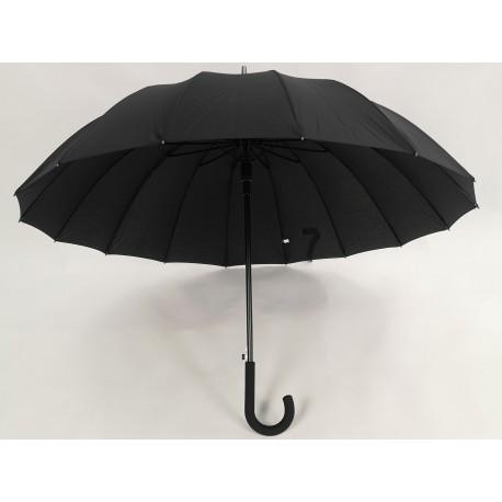 Мужской зонт трость черный, 16 спиц