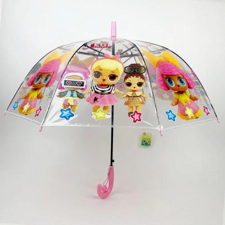 """Детский зонтик-трость прозрачный """"Лол"""""""